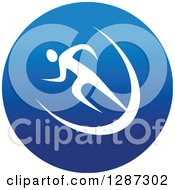 Clipart Of A Round Blue Spots Icon Of A White Male Athlete Runner Sprinting Royalty Free Vector Illustration
