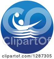 Clipart Of A Round Blue Spots Icon Of A White Male Athlete Playing Water Polo Royalty Free Vector Illustration by Vector Tradition SM