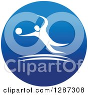 Clipart Of A Round Blue Spots Icon Of A White Male Athlete Playing Volleyball Royalty Free Vector Illustration