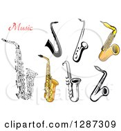 Clipart Of Black And White Music Note And Brass Saxophones With Text Royalty Free Vector Illustration