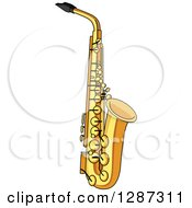 Clipart Of A Brass Saxophone Royalty Free Vector Illustration by Vector Tradition SM