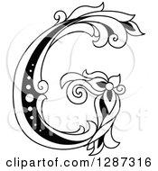 Black And White Vintage Floral Capital Letter G