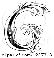 Clipart Of A Black And White Vintage Floral Capital Letter G Royalty Free Vector Illustration