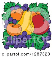 Clipart Of A Fruit Logo Of A Pear Red Apple Apricots And Grapes On Green Leaves Royalty Free Vector Illustration