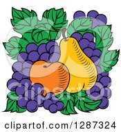 Clipart Of A Fruit Logo Of A Pear Apricot And Grapes On Green Leaves Royalty Free Vector Illustration
