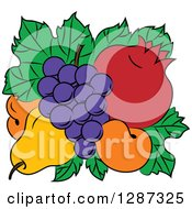 Clipart Of A Fruit Logo Of A Pear Apricots Pomegranate And Grapes On Green Leaves Royalty Free Vector Illustration