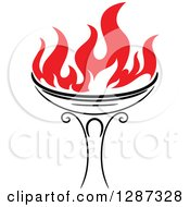 Clipart Of A Black Torch With Red Flames 35 Royalty Free Vector Illustration