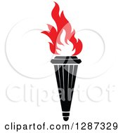 Clipart Of A Black Torch With Red Flames 36 Royalty Free Vector Illustration