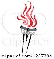Clipart Of A Black Torch With Red Flames 31 Royalty Free Vector Illustration