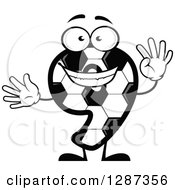 Grayscale Soccer Ball Number Nine Character Holding Up 9 Fingers