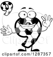 Grayscale Soccer Ball Number Nine Character Holding Up 9 Fingers And Digit