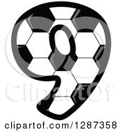 Grayscale Soccer Ball Number Nine
