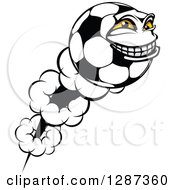 Grinning Soccer Ball Character Shooting Through The Air