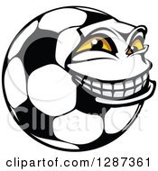 Grinning Soccer Ball Character Facing Right