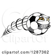 Grinning Soccer Ball Character Flying To The Right