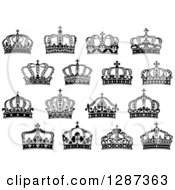 Clipart Of A Black And White Crowns 12 Royalty Free Vector Illustration