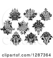 Clipart Of A Black And White Arabesque Damask Designs 11 Royalty Free Vector Illustration