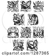 Clipart Of A Black And White Celtic Heron Stork And Crane Bird Knots Royalty Free Vector Illustration