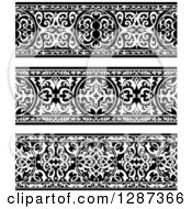 Clipart Of Black And White Ornate Floral Arabian Borders Royalty Free Vector Illustration