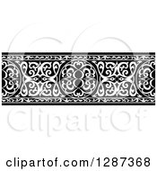 Clipart Of A Black And White Ornate Floral Arabian Border Royalty Free Vector Illustration
