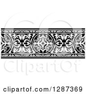 Clipart Of A Black And White Ornate Floral Arabian Border 2 Royalty Free Vector Illustration