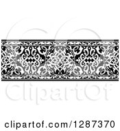 Clipart Of A Black And White Ornate Floral Arabian Border 3 Royalty Free Vector Illustration