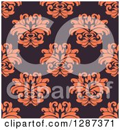 Clipart Of A Seamless Background Design Pattern Of Vintage Orange Floral Damask On Dark Purple Royalty Free Vector Illustration