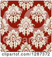 Clipart Of A Seamless Background Design Pattern Of Vintage Tan Floral Damask On Maroon Royalty Free Vector Illustration