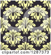 Clipart Of A Seamless Background Design Pattern Of Vintage Yellow Floral Damask On Dark Gray Royalty Free Vector Illustration
