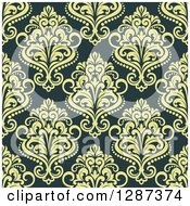 Clipart Of A Seamless Background Design Pattern Of Vintage Green Floral Damask Royalty Free Vector Illustration