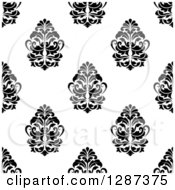 Clipart Of A Seamless Background Design Pattern Of Black And White Damask 5 Royalty Free Vector Illustration