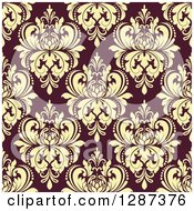Clipart Of A Seamless Background Design Pattern Of Vintage Yellow Floral Damask On Brown 3 Royalty Free Vector Illustration