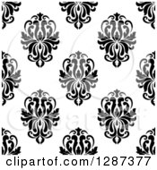 Clipart Of A Seamless Background Design Pattern Of Black And White Damask 6 Royalty Free Vector Illustration