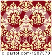 Clipart Of A Seamless Background Design Pattern Of Vintage Yellow Floral Damask On Brown Royalty Free Vector Illustration