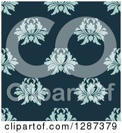 Clipart Of A Seamless Background Design Pattern Of Vintage Blue Floral Damask On Teal Royalty Free Vector Illustration