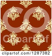 Clipart Of A Seamless Background Design Pattern Of Vintage Yellow Floral Damask On Brown 2 Royalty Free Vector Illustration