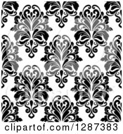 Clipart Of A Seamless Background Design Pattern Of Black And White Damask 8 Royalty Free Vector Illustration