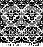 Clipart Of A Seamless Background Design Pattern Of Black And White Damask 9 Royalty Free Vector Illustration