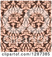 Clipart Of A Seamless Background Design Pattern Of Vintage Salmon Pink Floral Damask On Brown Royalty Free Vector Illustration