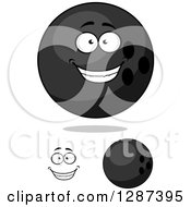 Poster, Art Print Of Grayscale Bowling Balls And A Face
