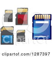 Clipart Of Blue Red And Black Memory Cards Royalty Free Vector Illustration