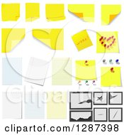 Clipart Of Yellow Sticky Notes And Ruled Paper Designs Royalty Free Vector Illustration