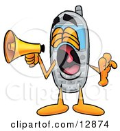 Clipart Picture Of A Wireless Cellular Telephone Mascot Cartoon Character Screaming Into A Megaphone