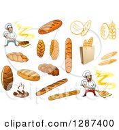 Clipart Of Breads And Bakery Chefs Royalty Free Vector Illustration