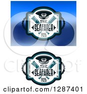 Clipart Of Nautical Seafarer Designs With A Captain Hat Crossed Spyglasses And Rope Royalty Free Vector Illustration