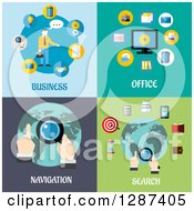 Clipart Of Business Office Navigation And Search Flat Modern Designs Royalty Free Vector Illustration