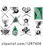 Clipart Of Billiards Pool Eight And Seven Balls With Cue Sticks And Trophies Royalty Free Vector Illustration