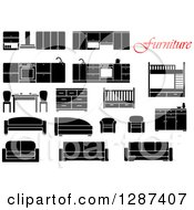 Clipart Of Red Text And Black And White Furniture Royalty Free Vector Illustration