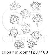 Clipart Of A Black And White Comic Bursts Explosions Or Poofs 5 Royalty Free Vector Illustration