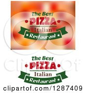 Clipart Of Green And Red The Best Italian Pizza Restaurant Text Designs Royalty Free Vector Illustration